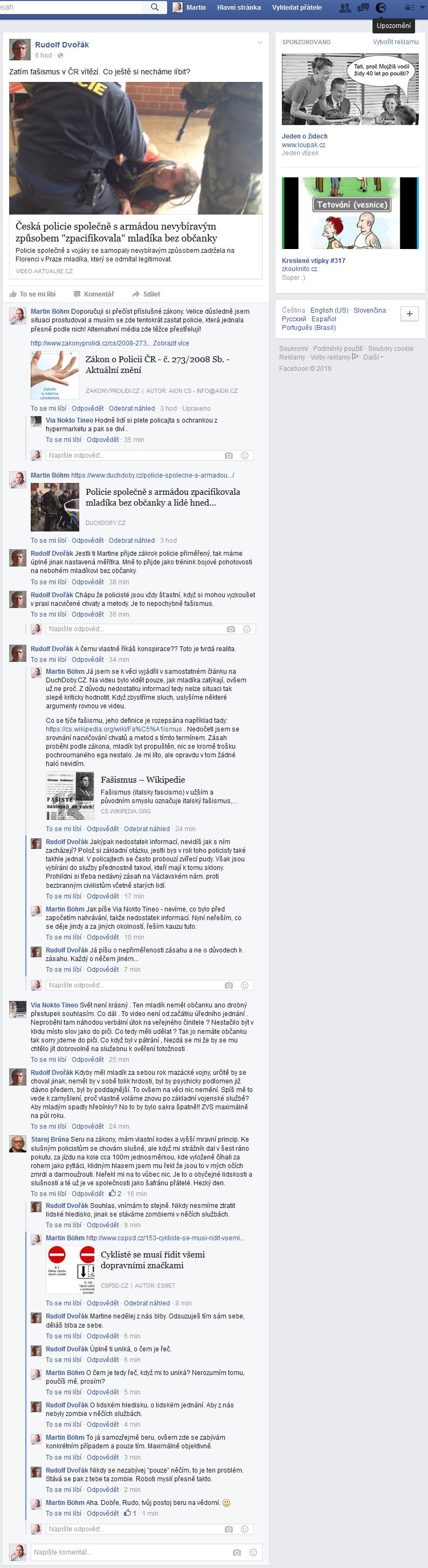 Facebooková zeď Rudolfa Dvořáka k 19 hodině