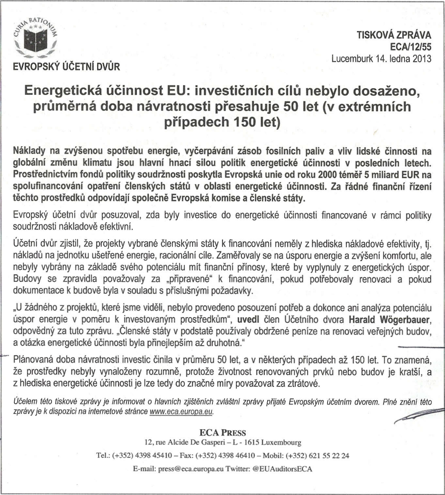 Tisková zpráva ECA/15/55 (Lucemburk 14. ledna 2013)