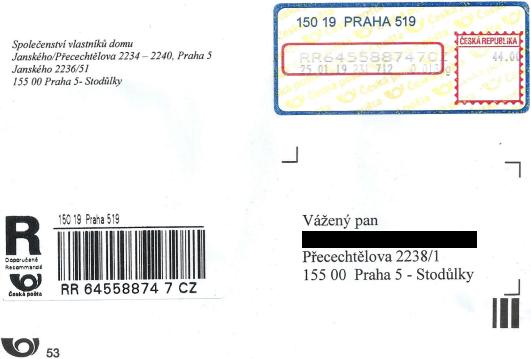 Obálka doporučeného dopisu od SVJ